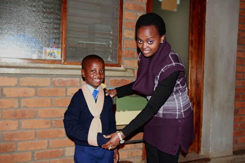 Josh with Lower Primary Medical Officer, Brenda--